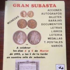 Catálogos y Libros de Monedas: CATALOGO J.R.SUBASTAS 1993 NUMISMATICA FILATELIA AUTOGRAFOS LOTERIA SELLOS MONEDAS BILLETES. Lote 201331461