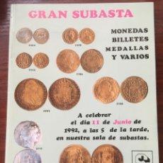 Catálogos y Libros de Monedas: CATALOGO J.R.SUBASTAS 1992 NUMISMATICA MONEDAS BILLETES. Lote 201331912