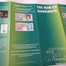 Catálogos y Libros de Monedas: FOLLETO BILLETE 5 LIBRAS - REINO UNIDO. Lote 204271541