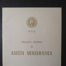 Catálogos y Libros de Monedas: ANE - GACETA NUMISMATICA Nº 14 SEPTIEMBRE-1966. Lote 205202545