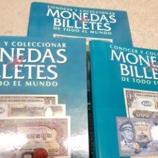Catálogos y Libros de Monedas: LOTE DE 3 CARPETAS, DE MONEDAS Y BILLETES DE TODO EL MUNDO, 80 FASCÍCULOS AÑO 94. Lote 209978882