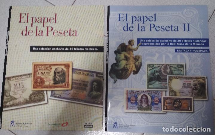 2 LIBROS EL PAPEL DE LA PESETA. EL PAIS/AGUILAR. (Numismática - Catálogos y Libros)
