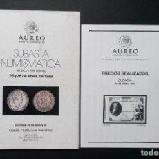 Catálogos y Libros de Monedas: A450.- AUREO.- PRIMERA SUBASTA NUMISMÁTICA.- 25 Y 26 DE ABRIL DE 1989. Lote 216788137