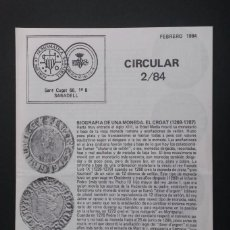 Catálogos y Libros de Monedas: A452.- CIRCULAR 2/84.- AGRUPACIÓN NUMISMATICA SABADELL.- CROAT - PUGESA. Lote 216795190