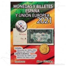 Catalogues et Livres de Monnaies: CATÁLOGO MONEDAS Y BILLETES ESPAÑA Y UE 2021 - HERMANOS GUERRA. Lote 220958343