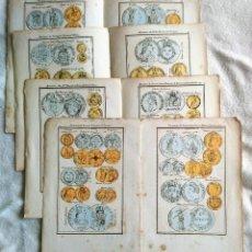 Catálogos y Libros de Monedas: NUMISMÁTICA. 8 ILUSTRACIONES DEL SIGLO XIX SOBRE MONEDAS ANTIGUAS EN COLOR.. Lote 221714670