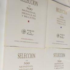 Catálogos y Libros de Monedas: 4. CATÁLOGOS SUBASTA SELECCIÓN DE 500 MONEDAS MEDALLAS Y BILLETES. Lote 222107707