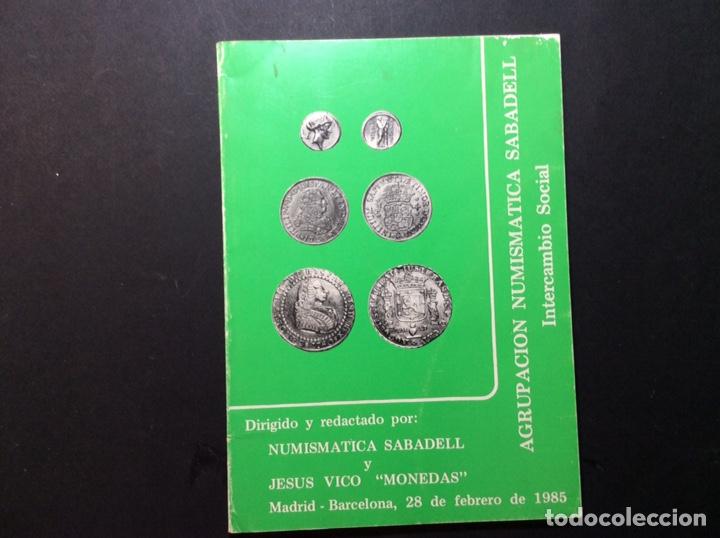 """NUMISMATICA SABADELL Y JESÚS VICO """"MONEDAS"""" 1985 (Numismática - Catálogos y Libros)"""