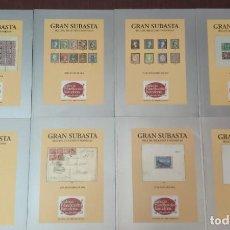 Catálogos y Libros de Monedas: LOTE DE 8 CATALOGOS GRAN SUBASTA SELLOS, BILLETES Y MONEDAS (GALERIA FILATELICA DE BARCELONA). Lote 232688950