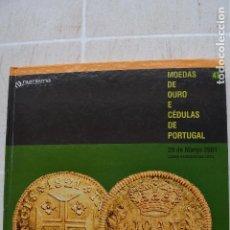 Catalogues et Livres de Monnaies: 2001 CATÁLOGO CAPA DURA SUBASTAS NUMISMA - MONEDAS DE ORO Y CEDULAS DE PORTUGAL. Lote 235961015