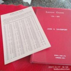 Catálogos y Libros de Monedas: CATÁLOGO DE EUROPEAN CROWNS 1700-1800, DE JOHN S. DAVENPORT, 1964, 334 PÁG. CON LISTADO DE PRECIOS. Lote 242134645