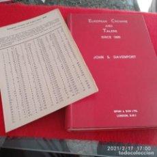 Catálogos y Libros de Monedas: CATÁLOGO DE EUROPEAN CROWNS AND TALERS, SINCE1800, DE JOHN S. DAVENPORT, 1964, 423 PÁG.. Lote 242135330