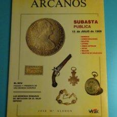 Catálogos y Libros de Monedas: ARCANOS. SUBASTA. JOSÉ Mª ALEDÓN. JULIO 1989. Lote 261915100