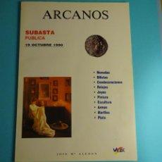 Catálogos y Libros de Monedas: ARCANOS. SUBASTA. JOSÉ Mª ALEDÓN. JOCTUBRE 1990. Lote 261915725