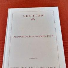 Catálogos e Livros de Moedas: COLECCIÓN MONEDA GRIEGA NELSON BUNKER HUNT SUBASTA 66 NAC ARS CLASSICA PIEZAS EXTRAORDINARIAS. Lote 267884569