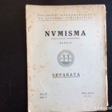 Catálogos y Libros de Monedas: NUMISMA. PUBLICACIÓN TRIMESTRAL MADRID. SEPARATA. AÑO III NUM. 7. ABRIL-JUNIO 1953. Lote 276426498
