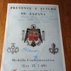 Catálogos y Libros de Monedas: CATALOGO DE LA MEDALLA CONMEMORATIVA DE LA LEY 23- 7- 69. FRANCO Y JUAN CARLOS .. Lote 284534258