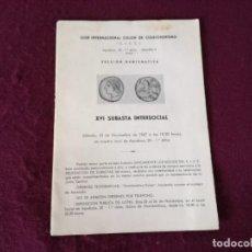 Catálogos y Libros de Monedas: CATÁLOGO CON PRECIOS DE MONEDAS Y MEDALLAS O LIBRO DE SUBASTA INTERSOCIAL, 1967. Lote 293302108