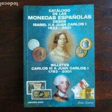 Catálogos y Libros de Monedas: CATÁLOGO 2002 DE LAS MONEDAS ESPAÑOLAS DESDE 1833-2001, EUROS 2002, Y BILLETES DESDE 1783-2001. Lote 296851708