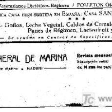 Catálogos publicitarios: PUBLICIDAD DE LA CASA SANTIVERI. ALIMENTOS VEGETARIANOS .BARCELONA. AÑO 1928. Lote 3834790