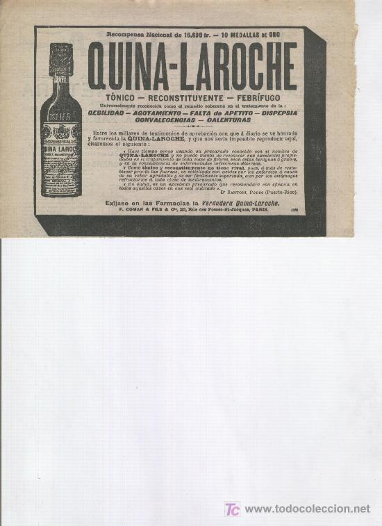 PUBLICIDAD DE LA VERDADERA QUINA-LAROCHE. TONICO RECONSTITUYENTE. 1913 (Coleccionismo - Catálogos Publicitarios)
