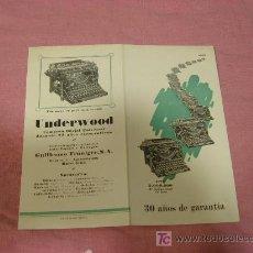 Catálogos publicitarios: UNDERWOD 30 AÑOS DE GARANTIA 1895-1927 3000000DE MAQUINAS EN USO. Lote 8932337