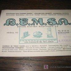 Catálogos publicitarios: TARJETA PUBLICITARIA B.E.M.S.A. BOSSER ELECTRO-MAQUINARIA. Lote 5736620