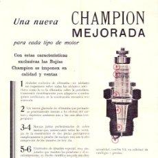 Catálogos publicitarios: CHAMPION MEJORADA. BUJÍAS.. Lote 6678247