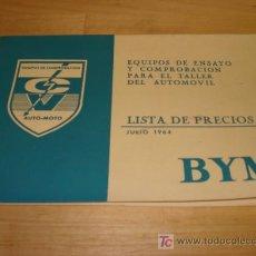 Catálogos publicitarios: LISTA DE PRECIOS BYM. Lote 20459337