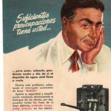 Catálogos publicitarios: FOLLETO PUBLICITARIO BOMBA BLOCH, AÑOS 40. Lote 8280744