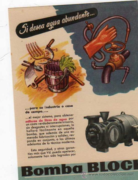 FOLLETO PUBLICITARIO BOMBA BLOCH, AÑOS 40 (Coleccionismo - Catálogos Publicitarios)