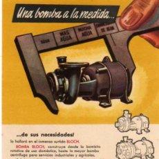 Catálogos publicitarios: FOLLETO PUBLICITARIO BOMBA BLOCH, AÑOS 40. Lote 8280840