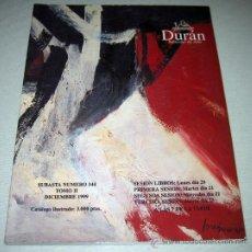 Catálogos publicitarios: CATALOGO DE LA SUBASTA DE ABRIL DE DICIEMBRE DE 1999 DE DURAN SUBASTAS DE ARTE - PINTURA, RELOJES, . Lote 22522469