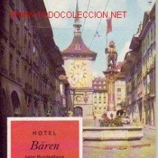 Catálogos publicitarios: LIBRILLO PUBLICIDAD HOTEL BÄREN - (BERNA SUIZA). Lote 26029658