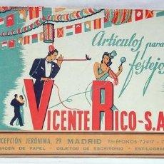Catálogos publicitarios: CATALOGO VICENTE RICO ARTÍCULOS PARA FESTEJOS MADRID 1946 - 1947 ALMACÉN PAPEL OBJETOS ESCRITORIO. Lote 25219014