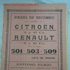 Catálogos publicitarios: LISTA PRECIOS CITROEN-RENAULT. Lote 14308759