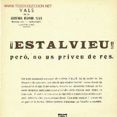 Catálogos publicitarios: !ESTALVIEU PERO, NO US PRIVEU DE RES ! VALS DE LA ECONOMIA HISPANO SUIZA. Lote 6606546
