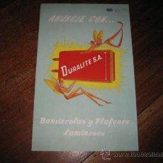 Catálogos publicitarios: ANUNCIE CON DURALITE S.A BANDEROLAS Y PLAFONES LUMINOSOS . Lote 10347261