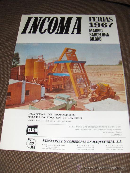 INCOMA. INDUSTRIAL Y COMERCIAL DE MAQUINARIA SA. FERIAS DE 1967. (Coleccionismo - Catálogos Publicitarios)