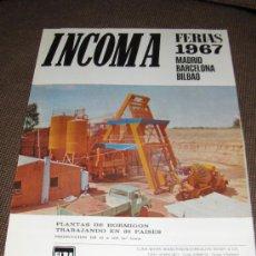 Catálogos publicitarios: INCOMA. INDUSTRIAL Y COMERCIAL DE MAQUINARIA SA. FERIAS DE 1967.. Lote 26074215