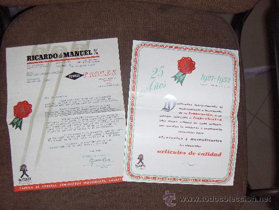 RICARDO DE MANUEL SA, CORREAS TRIPLEX. BARCELONA. CARTA COMERCIAL Y CATALOGO. (Coleccionismo - Catálogos Publicitarios)
