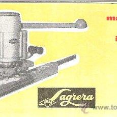 Catálogos publicitarios: COMERCIAL SAGRERA. MAQUINARIA PORTATIL INDUSTRIAL PARA TRABAJAR LA MADERA Y PLASTICOS.. Lote 12094144