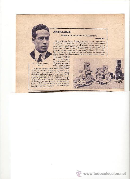 RECORTE PUBLICIDAD.AÑO1934.TENERIFE.ANTILLANA.FABRICA DE TABACOS Y CIGARRILLOS.ALFONSO PEREZ DELGADO (Coleccionismo - Catálogos Publicitarios)