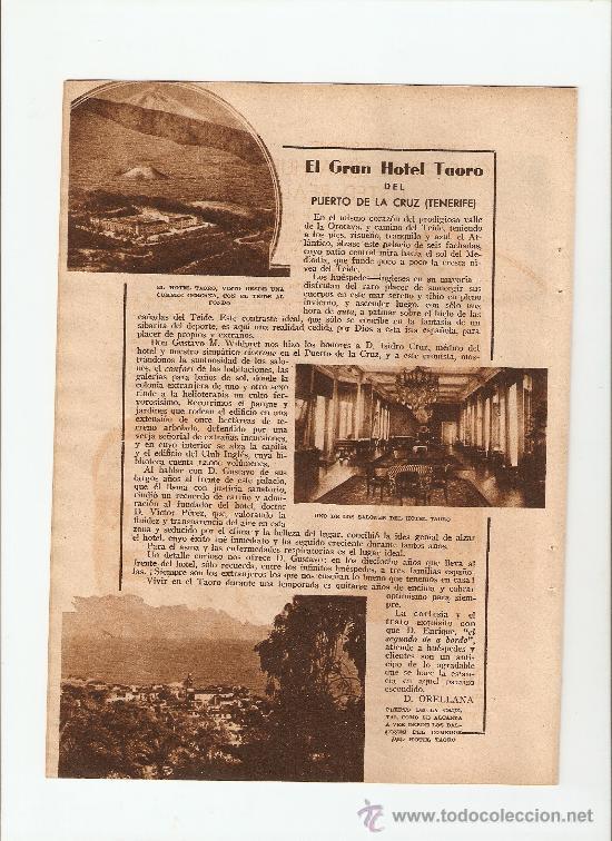 HOJA PUBLICIDAD.AÑO1934.TENERIFE.GRAN HOTEL TAORO.PUERTO DE LA CRUZ.ISALAS CANARIAS. (Coleccionismo - Catálogos Publicitarios)
