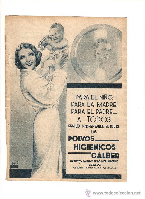 HOJA PUBLICIDAD.AÑO1934.POLVOS HIGIENICOS CALBER.PERFUMERIA HIGIENICA CALBER.SAN SEBASTIAN. (Coleccionismo - Catálogos Publicitarios)