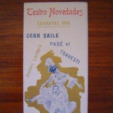 Catálogos publicitarios: CARNAVAL 1916 BARCELONA - GRAN BAILE PARE ET TRAVESTI - BAILES AURIGEMMA TEATRO NOVEDADES . Lote 27227209