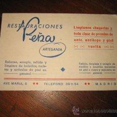 Catálogos publicitarios: TARJETA DE PUBLICIDAD RESTAURACIONES PEÑA ARTESANIA MADRID . Lote 13606911