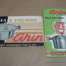 Catálogos publicitarios: 2 CATALOGOS PUBLICITARIOS OLLA A PRESION ARIN AÑOS 60S. Lote 27275560