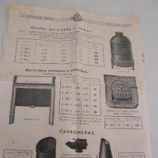 Catálogos publicitarios: TARIFA DE PRECIOS Nº. 123.-S.A. CONSTRUCCIONES PRECKLER-1935-SALAMANDRAS, ESTUFAS, CARBONERAS-. Lote 23880939