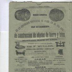 Catálogos publicitarios: EXCEPCIONAL HOJA DE PUBLICIDAD DE BARCELONA.AÑO 1864.EXPO PARIS 1855.MULLER. BALANZAS. BASCULAS.HIE. Lote 13501623